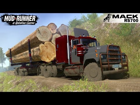 Spintires: MudRunner - MACK RS700 Transports Oversized Heavy Cargo on Mountain Roads