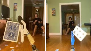 Teen Performs Incredible Cąrd Throwing Trick Shots