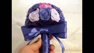 Букет из лент мини милашка сиреневый с фиолетовым