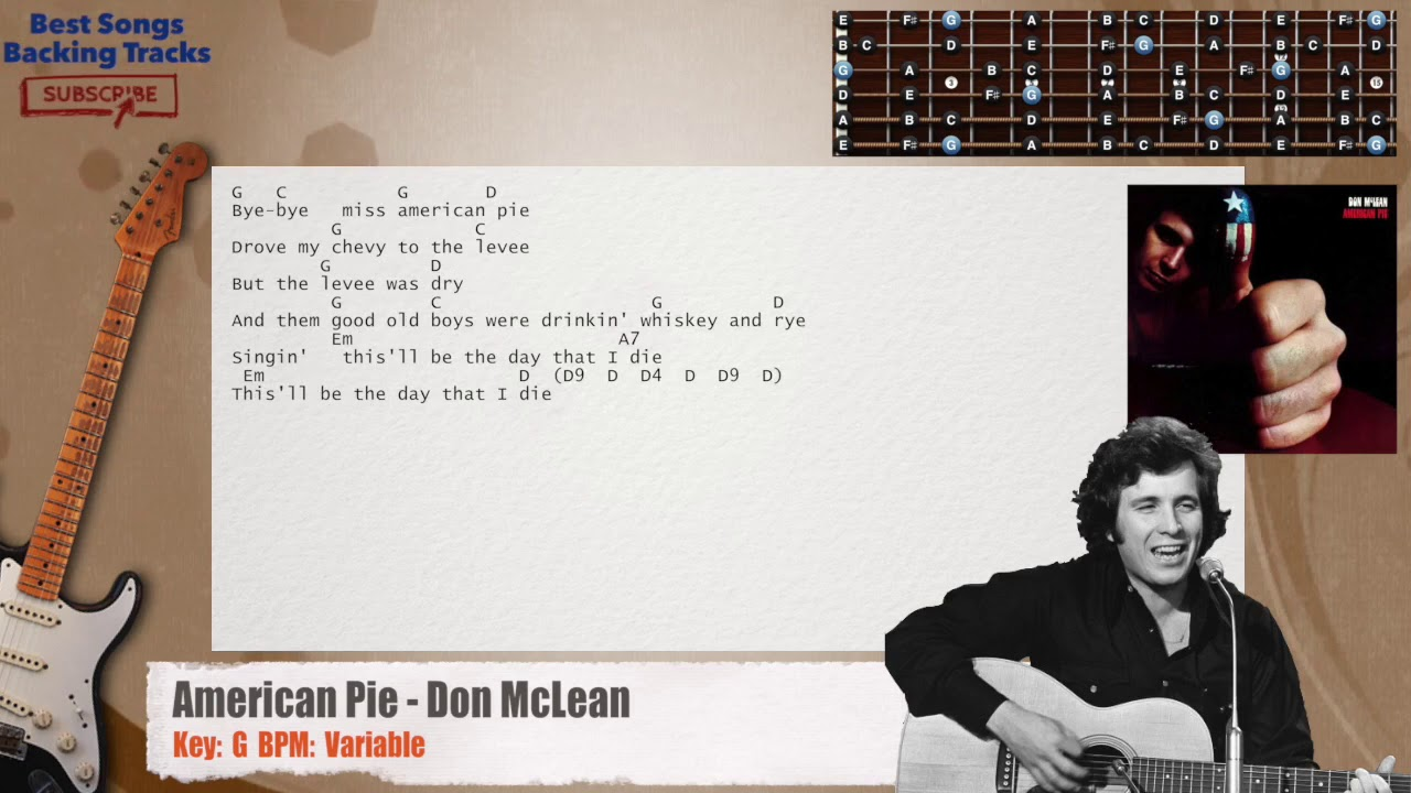 american pie don mclean guitar riffs backing track with chords and lyrics youtube. Black Bedroom Furniture Sets. Home Design Ideas