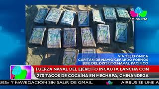 Fuerza Naval del Ejército incauta lancha con 270 tacos de cocaína en Mechapa, Chinandega