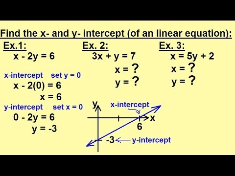 Algebra - Word Problems - Find the X and Y Intercepts - YouTube