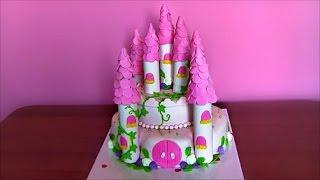 Торт ЗАМОК для принцессы Украшаем торт мастикой Cake castle for a princess