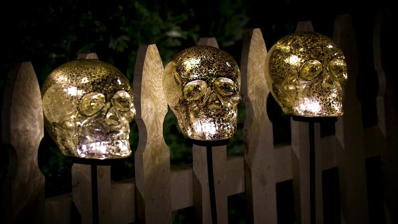 Lighted Skull Yard Stakes Outdoor Halloween Decoration ...