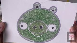 반짝이로 색칠공부 앵그리버드 돼지 - DIY lear…