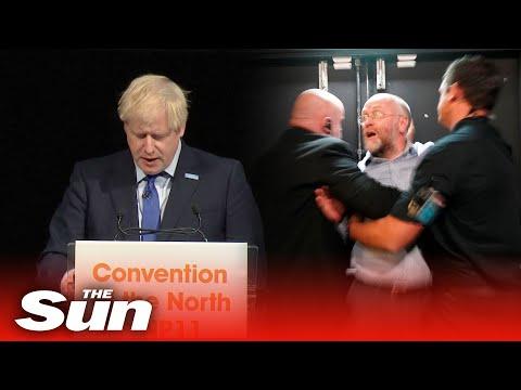Heckler interrupts Boris Johnson's speech