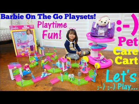 Little Girls' TOYS: Pink BARBIE Playsets! Barbie On The Go Sets. Pet Doctor Pretend Playtime Fun!