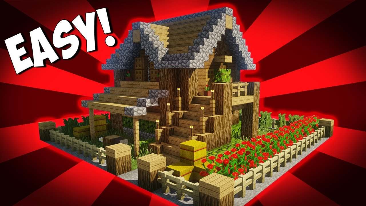 Minecraft How To Build A Small Survival House Tutorial 10 Easy Build Youtube