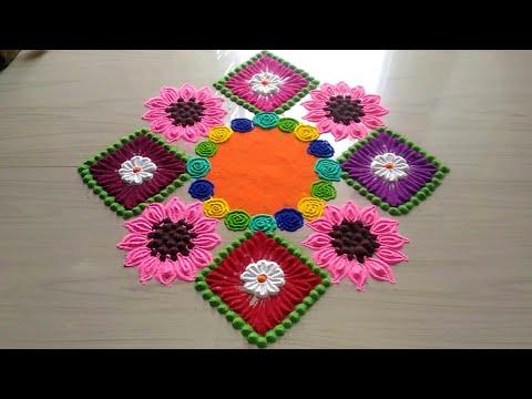How to make rangoli designs/easy,innovative,creative,awesome rangoli design/unique square rangoli