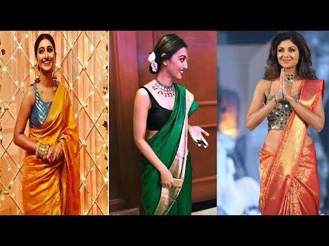 beautiful-silk-sari-with-sleeveless-blouse-designs-ideas||contrast-blouse-for-silk-saree