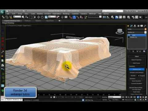 Cama colcha y cloth youtube for Cama 3d max