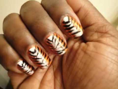 Orange Black And White Tiger Animal Print Nail Design Hot Youtube