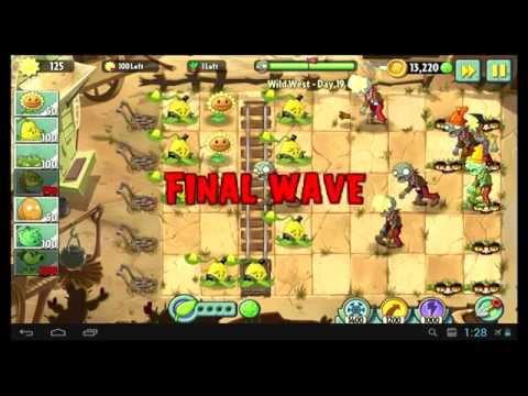 Как пройти 19 уровень в игре Растения против Зомби 2 Дикий запад