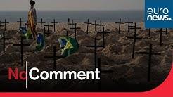 Brésil : des croix en hommage aux victimes du Covid-19 renversées