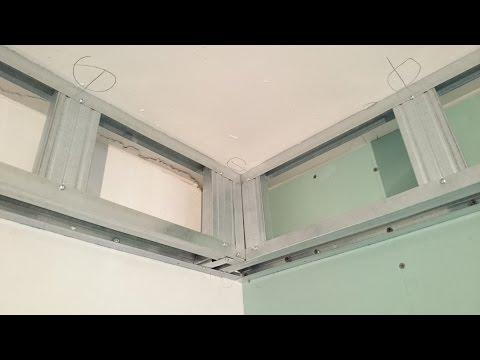 короб для натяжного потолка. Все секреты монтажа. Plasterboard ceiling.