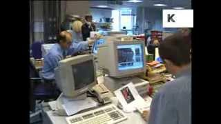 1990s London Evening Standard Newspaper Office, Archive Footage
