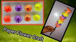 Paper flower craft(New) | Easy flower stick making