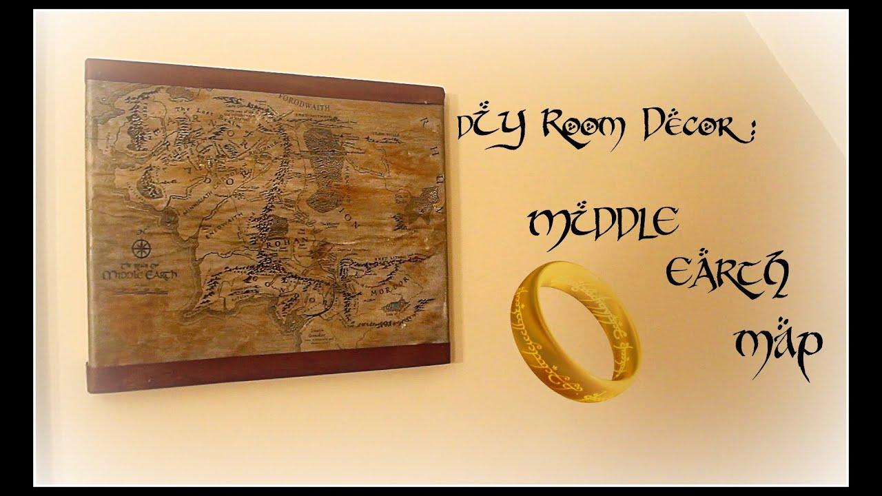Diy room decor middle earth map youtube for Lord of the rings bedroom ideas