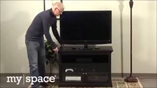 [best Price] Bush New Haven Swivel Tv Stand - Tobacco