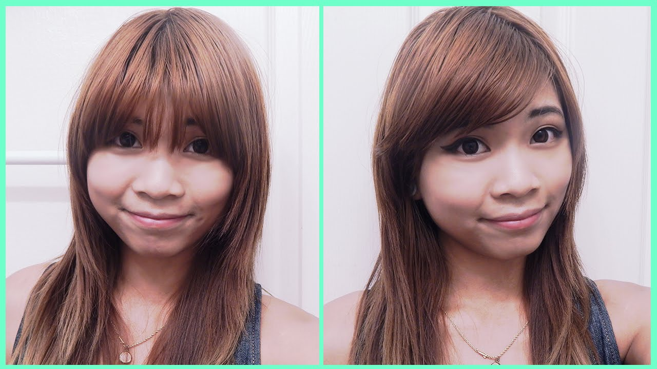 How To Style Straight Bangs To The Side Youtube