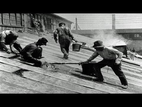 hd-stock-footage---story-of-asbestos-1921-reel-3,-asbestos-manufacturing,-roofing-shingles