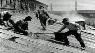 HD Stock Footage - Story of Asbestos 1921 Reel 3, Asbestos manufacturing, roofing shingles
