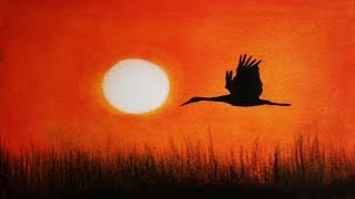 How To Draw Sunset Scenery with Oil Pastel    Sunset Drawing