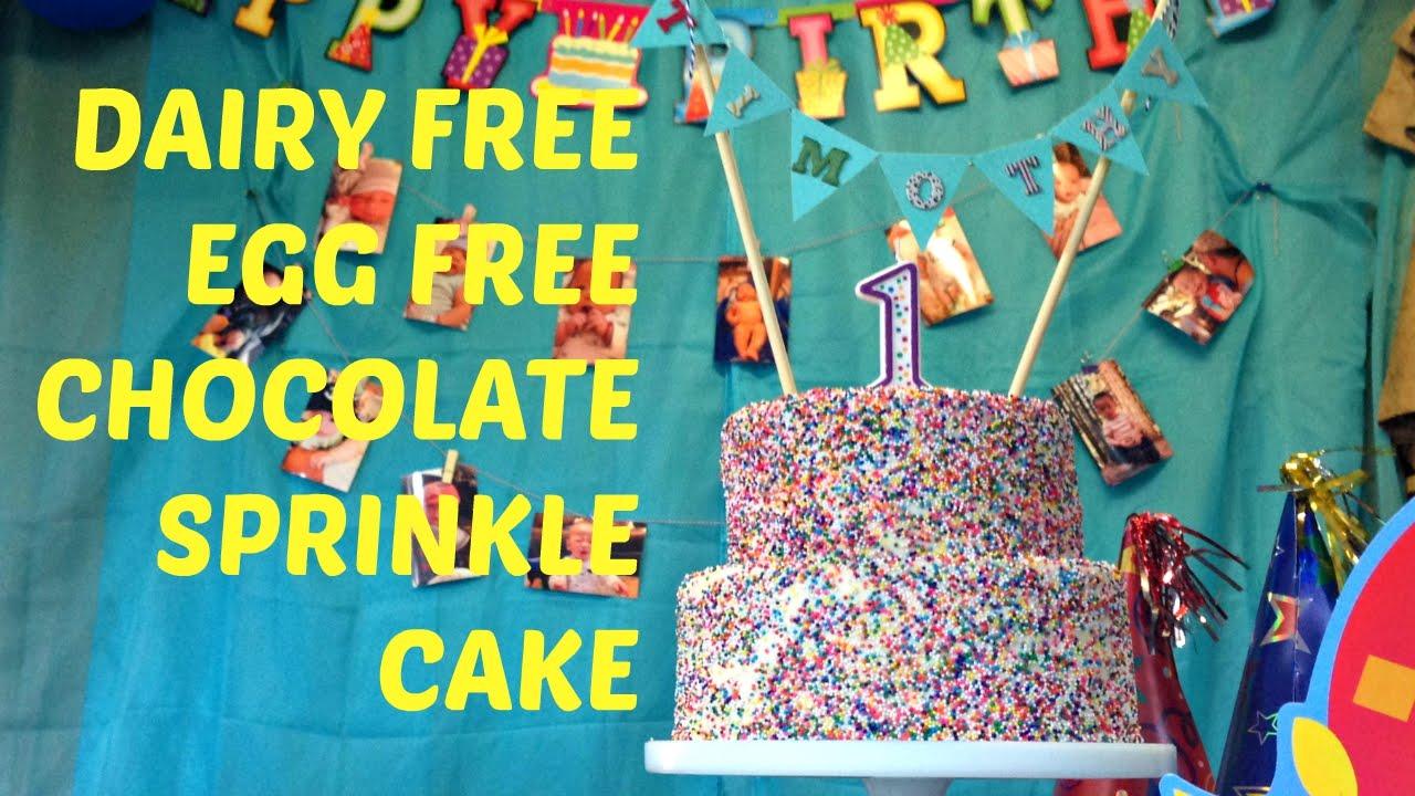 Allergy Free Cake Chocolate Rainbow Sprinkle No Eggs or Dairy - YouTube