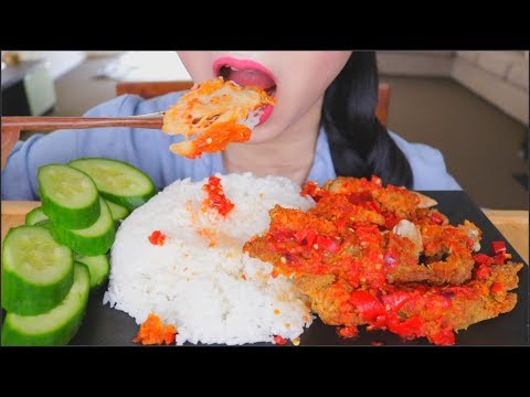 ASMR AYAM GEPREK | INDONESIAN SPICY CHICKEN RICE | EATING SOUNDS | NO TALKING