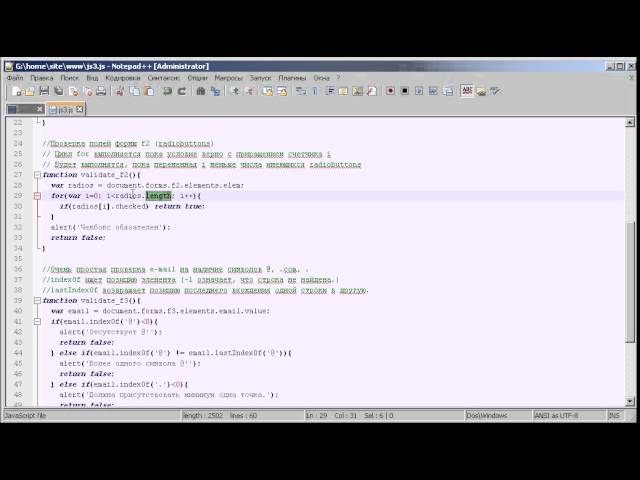 JavaScript: Проверка форм, while