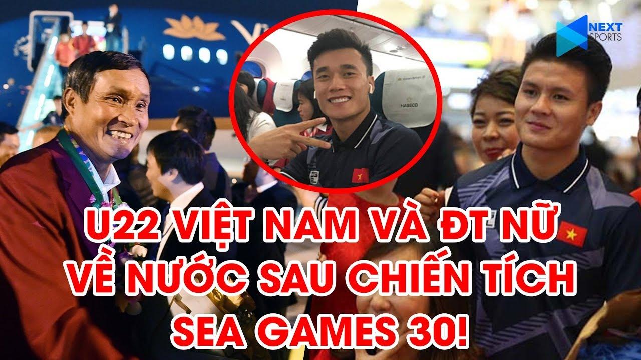 Khoảnh khắc các tuyển thủ ĐT U22 Việt Nam và ĐT nữ Việt Nam mang chiến thắng trở về