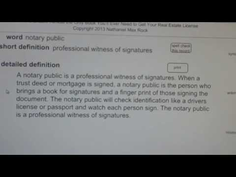 notary public CA Real Estate License Exam Top Pass Words VocabUBee.com
