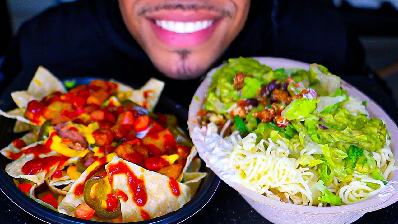 ASMR EATING TACO BELL VS CHIPOTLE MUKBANG MEME NACHO BELL GRANDE VS BURRITO BOWL NO TALKING