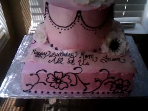 Pink White And Black Birthday Cake With Roses And Anemone Flower