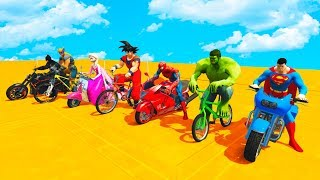 LEARN COLOR BMX and MOTORCYCLES w/ Superhero Cartoon for Kids Animation thumbnail