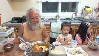 오늘도 다둥이네는 시끌벅적해요.#노각요리#돼지고기김치찌…