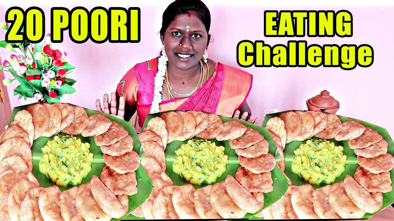 TAMIL FOODIES DIVYA MINI TIFFEN IN 20 POORI CHALLENGE / POORI MASAL EATING CHALLENGE