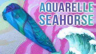 Aquarelle Seahorse Design - Hand Painted Water Colour Nail Art