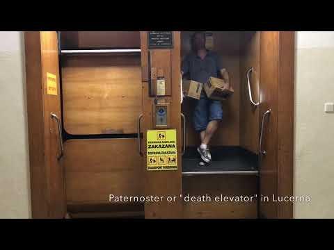 """Paternoster or """"death elevator"""" in Prague, Czech Republic"""