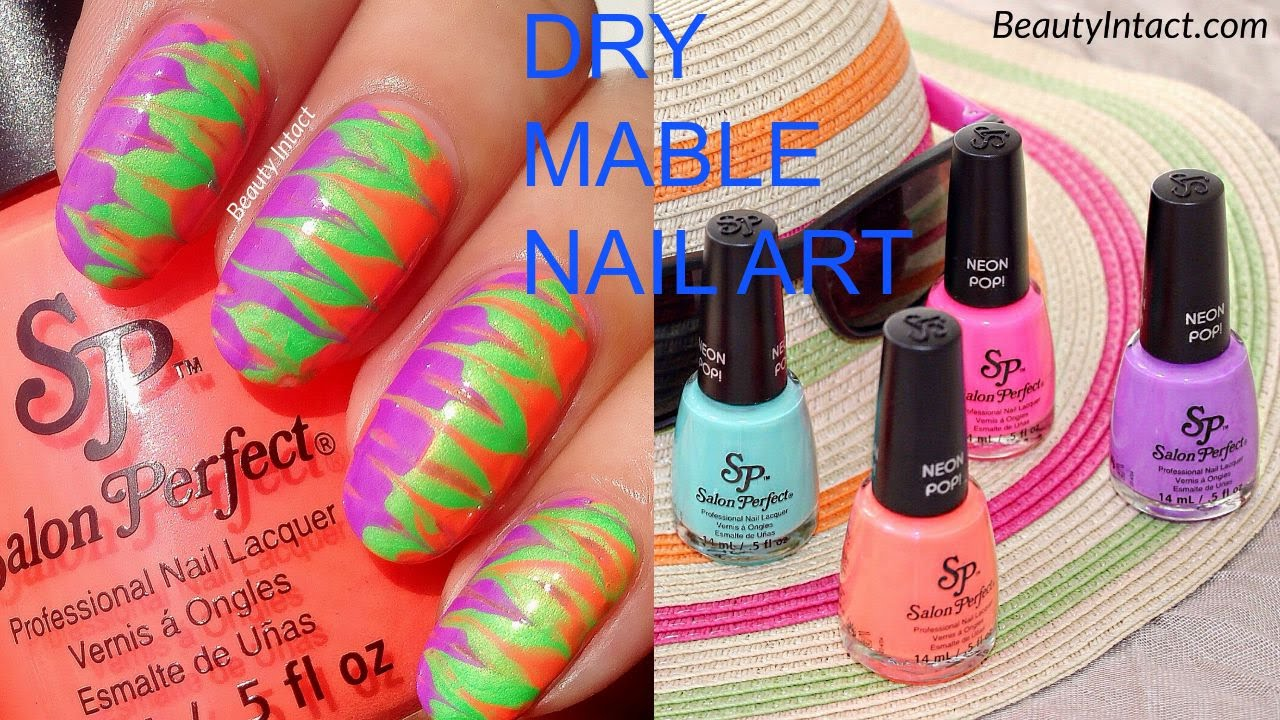 How to do Dry Marble, (without water) Water Marble Nail Art Tutorial ...