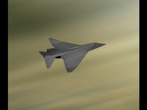 Flyable origami F-4 Phantom paper airplane tutorial by: Ken Hmoob