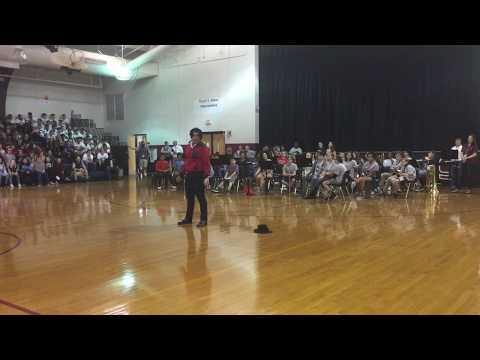 Michael jackson dance in pep rally in Floyd T Binns middle school