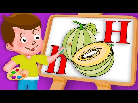 Drawing H Letter with Honeydew Fruit Drawing Paint And Colouring For Kids | Kids Drawing TV
