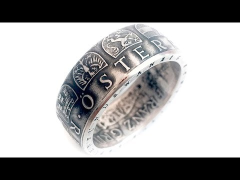 Austrian Coin Ring. Made from Silver 25 shillings. Austria 1966 year. Österreich Republik