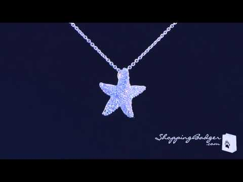 Petite CZ Starfish Necklace In Sterling Silver