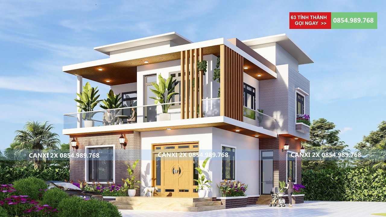 Mẫu nhà biệt thự 2 tầng phong cách hiện đại tại Bắc Giang