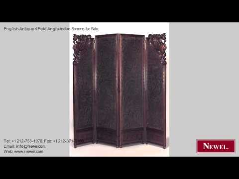 English Antique 4 Fold Anglo-Indian Screens for Sale