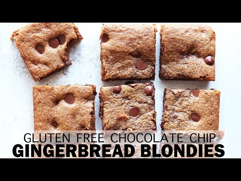 Chocolate Chip Gingerbread Blondies (gluten free + easy recipe)