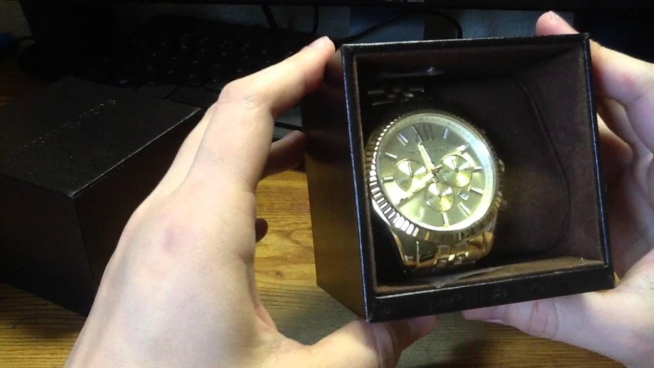 e672c3f78b Unboxing Michael Kors Watch Lexington (Gold) MK8281 at Macy s - YouTube