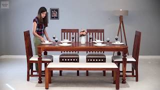6 Seater Dining Table Set Buy Best 6 Seater Dining Set Online Wooden Street Youtube
